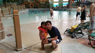 Inaya and Aamir in front of the wave pool